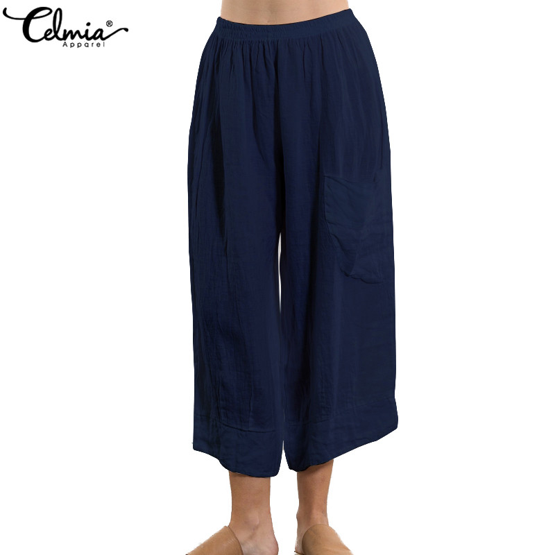 Celmia 2019 Summer Women Retro Linen   Pants   High Waist Trousers Casual Loose Wide Leg   Pants   Baggy Pantalon Femme   Capris   Plus Size