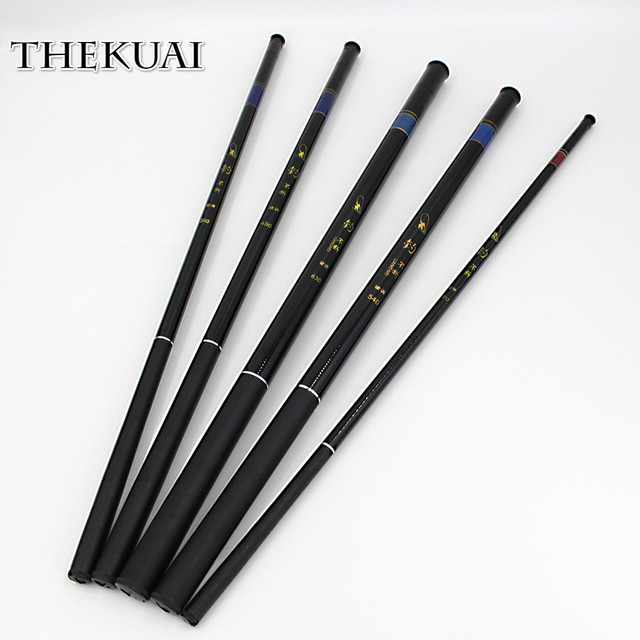 Best Price TheKuai Superhard 37T Ultra-light Stream Fishing Rod Power FRP Hand Pole Telescopic Fishing Rod for Carp Fishing