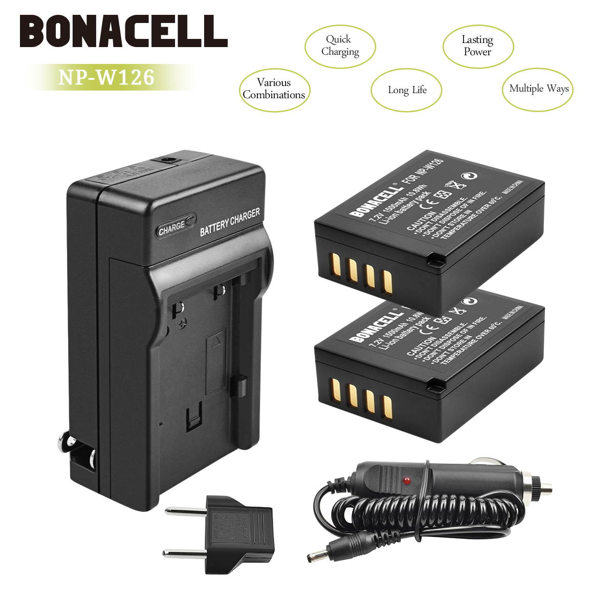 Bonacell 1400mAh NP W126 NP W126 NPW126 Replacement Battery Charger for Fujifilm FinePix HS30EXR HS33EXR HS50EXR X A1 X E1 L10 in Digital Batteries from Consumer Electronics