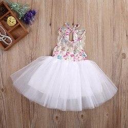 Rendas vestido de Baile Vestidos de Meninas Do Bebê Recém-nascido Crianças Meninas Tulle Tutu Vestido Floral Vestidos de Festa Sem Encosto Roupas Das Crianças do Verão