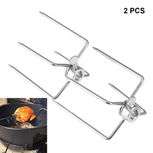 2Pcs BBQ Iron-plated Chrome Forks Charcoal Chicken Grill Rotisserie Spit Barbecue Tools WXV Sale stainless steel bbq grill rotating motor pig lamb goat chicken charcoal barbecue grill roaster spit rotisserie electric motor