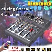 4 Channel Professional USB Jack Portable Audio Mixer Bluetooth Record Phantom Power Live Studio Audio DJ Sound Mixing Console