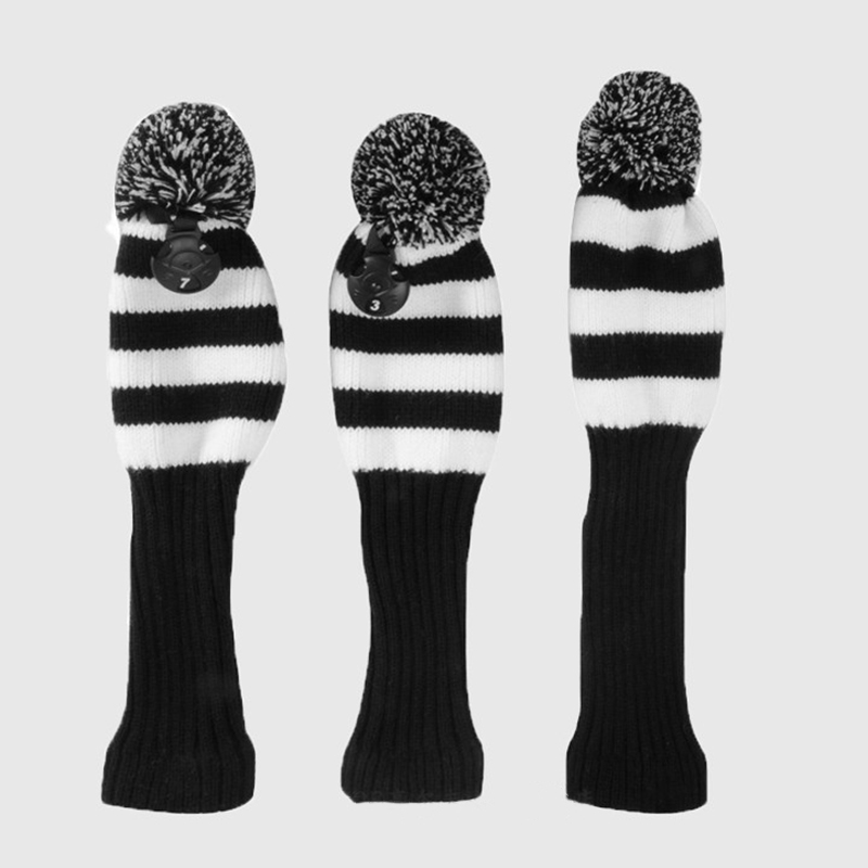 New Knitted Golf Club Head Covers Putter Headcovers For Golf Club Accessories 1 3 5 Pom Pom Sock Cover Wood Golf Headcover