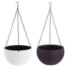Garden Supplies Plastic Rattan Hanging Basket - Flower Pot Automatic Watering With Liner