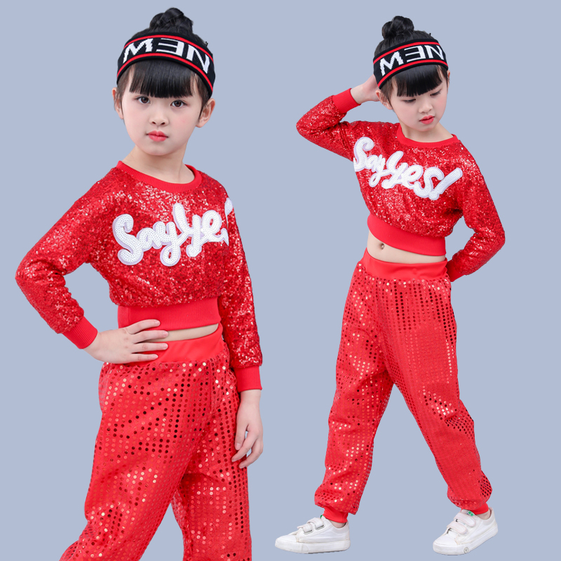 Children's Jazz Hip Hop And Hip Hop Costumes Sequins Stage Shelves Drumscheerleading Kindergarten Performance Suits