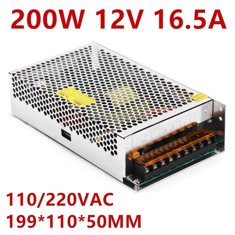 1PCS Industrial grade 200W 12V power supply 12V16.5A AC-DC DC12V S-200-12 DC12V16.5 1pcs ac dc 200w 24v power supply 24v 8 3a 200w 100 240vac led5050 3520 s 200 24