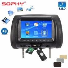 Универсальный 7 дюймов светодиодный Экран общий Автомобильный подголовник подушка-монитор Видео Мультимедиа плеер MP3 MP4 MP5 поддержкой USB, SD карт памяти, fm-радио