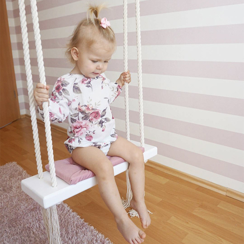 Nordic Style Kids Indoor Patio Swings Child Rocking Wood Seat With Cushion Safety Baby Hanging Hommock Lounge Swing Chair HW06