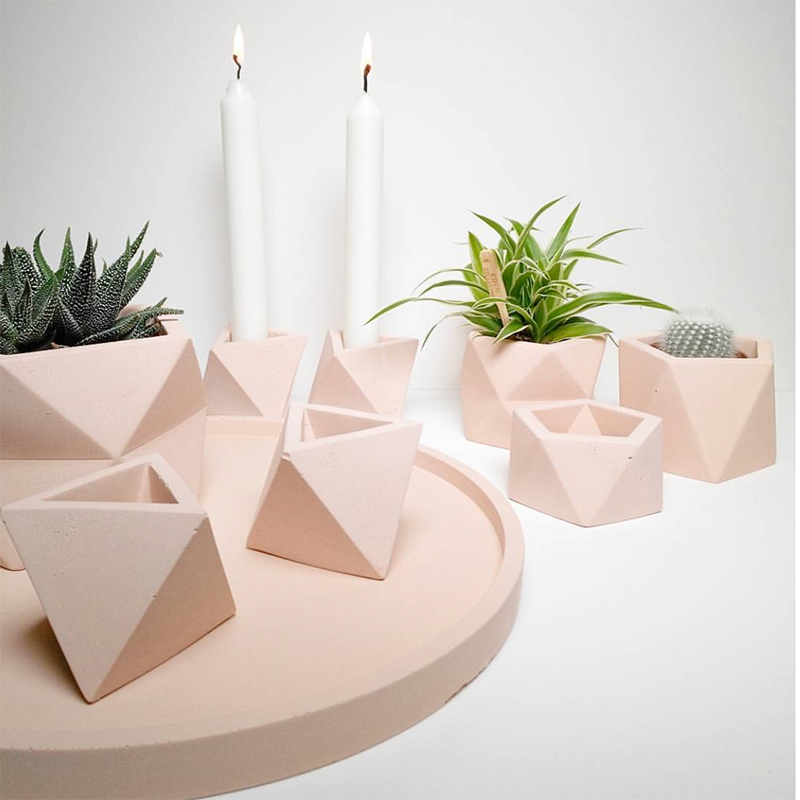 Concrete Silicone Mold Cement Pot Geometric Design Succulent Potted Mold Candlestick Storage Box Candle Holder Mould