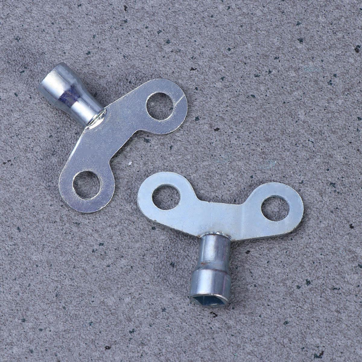 2pcs 6.5mm Gold Tone Metal Water Tap Knob Switch Faucet Key for Radiator Valve