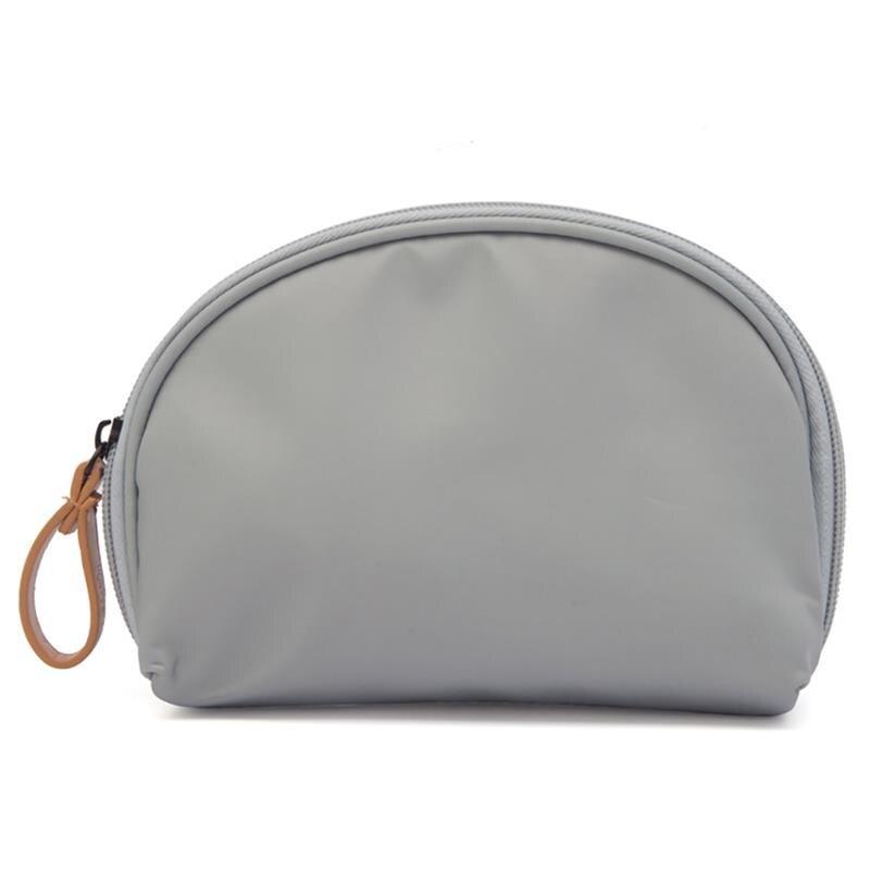 Aggressiv Weichen Stoff Einfarbig Multifunktions Semi-rund Kosmetik Tasche Tragbare Reise Lagerung Shell Digitale Paket Für Dame Frauen Reine WeißE