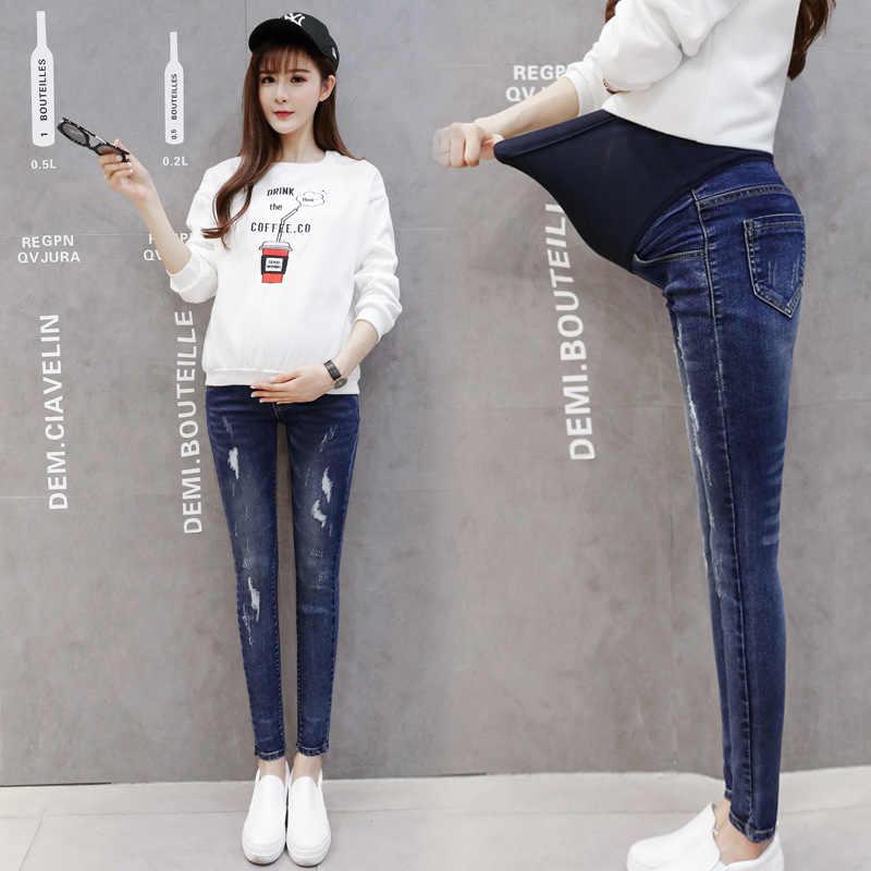 c0c7ace5623 Maternity Jeans Women Clothes 2018 Autumn Ladies Broken Hole Pregnancy  Skinny Denim Pants Pregnant Trousers Pantalon