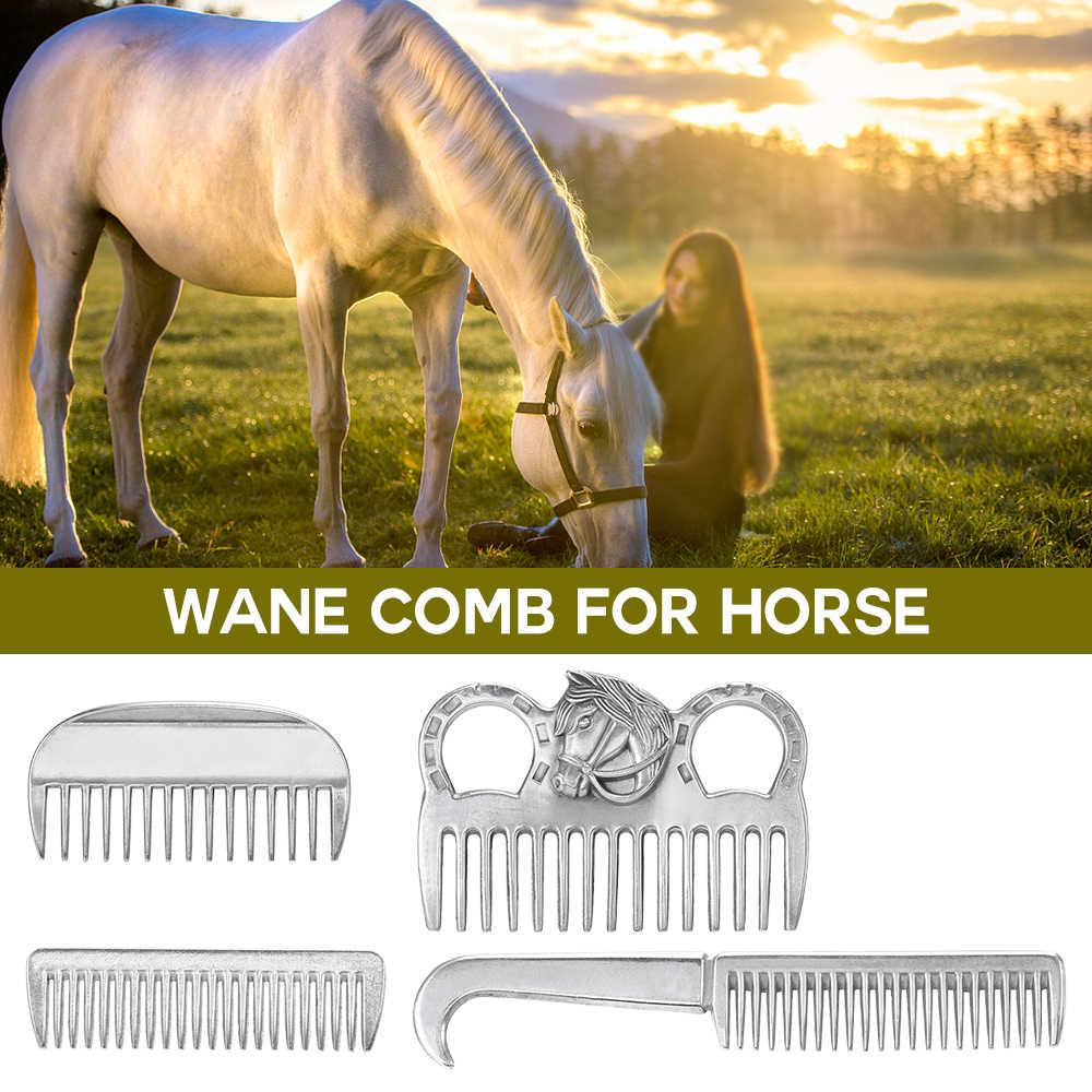 Accesorios para el cuidado del caballo, peine de aleación de aluminio, peine de cola de Melena, peine de Caballo de Metal, herramienta de aseo, productos para el cuidado del caballo
