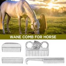 Alliage daluminium étrille cheval toilettage peigne crinière queue tirant peigne métal cheval toilettage outil produits de soins du cheval
