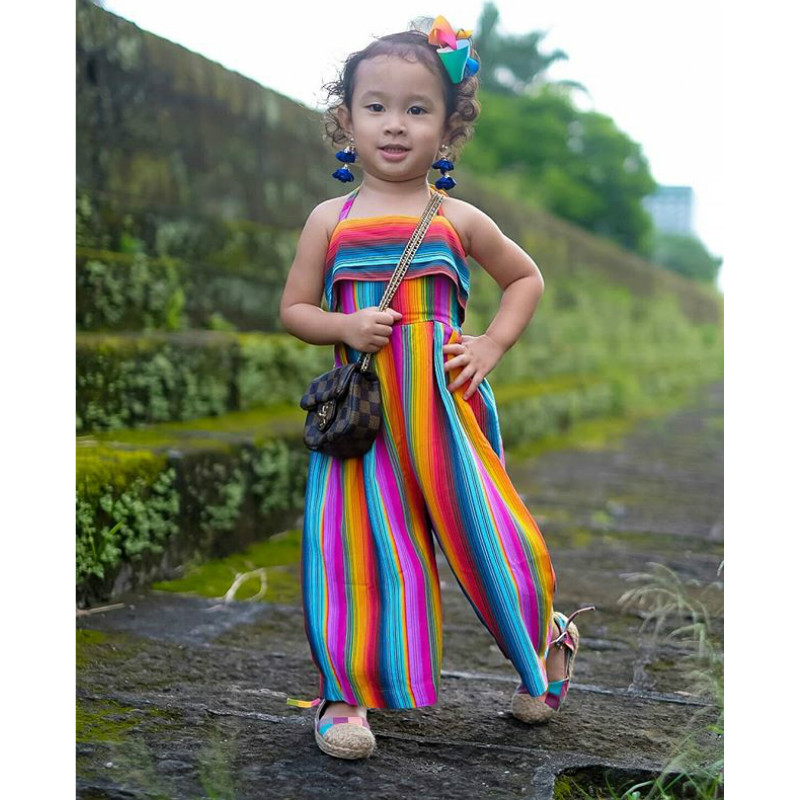 Toddler Kids Colorful   Romper   2019 Summer New Arrival Girl Backless Rainbow Strap Jumpsuit Beach Style Cotton Long Pant