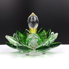 Free Shipping rainbow Crystal Perfume Bottle lotus flower Glass oil Refillable Gift for lady
