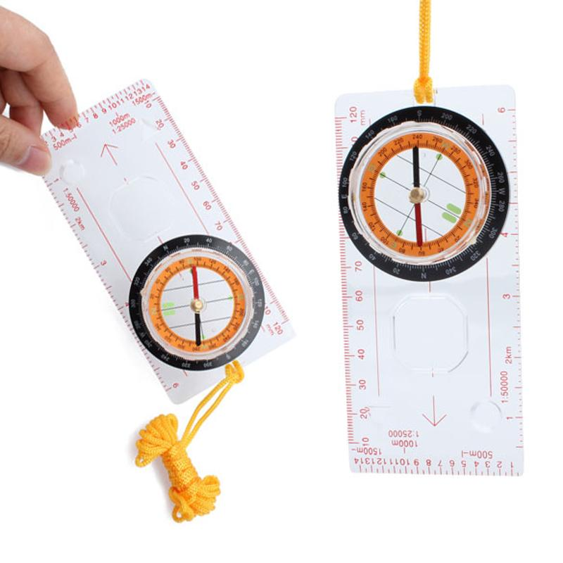 Camping Compass Ruler Magnifier Multifunction Pointer Compasses Hiking Protractor For Mapping Plotting With Neck Lanyard Rope