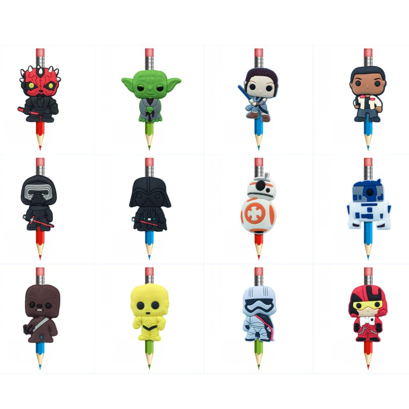 8pcs/lot Star Wars Cartoon PVC Pencil Topper Crafts Pen Accessory Caps Pencil Grips Stationery Office/School Supplies Gift