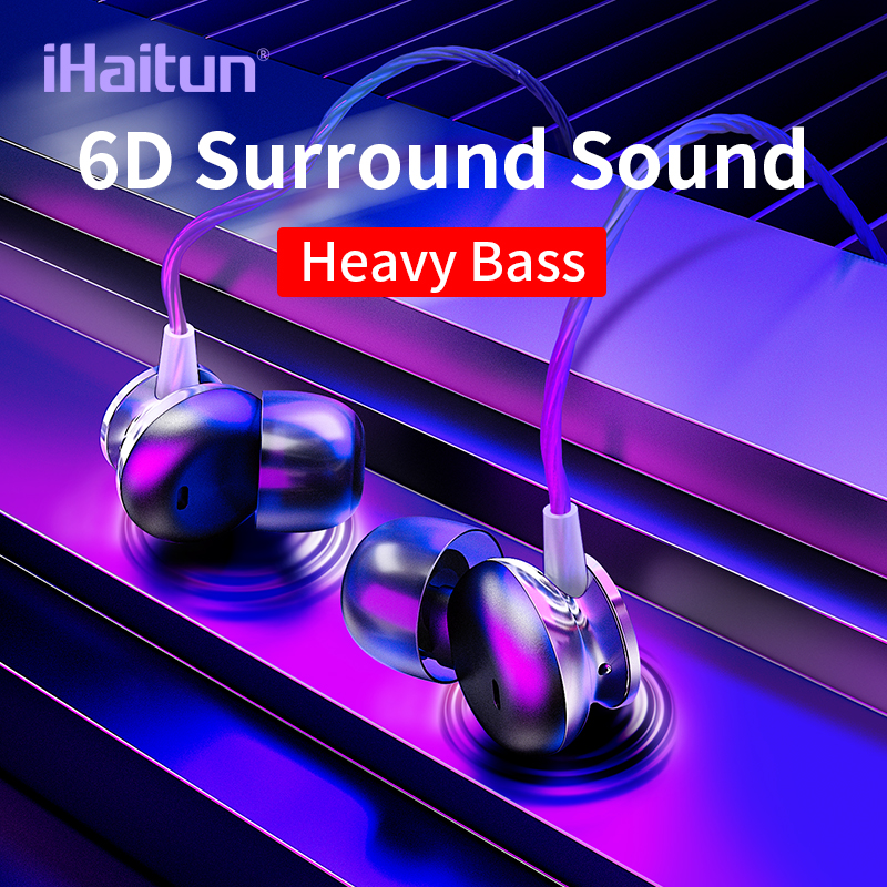IHaitun 6D In-Ear Earphone Bass Sound Sport Earphones For IPhone Samsung Xiaomi Headset Fone De Ouvido Auriculares Kulaklık MP3