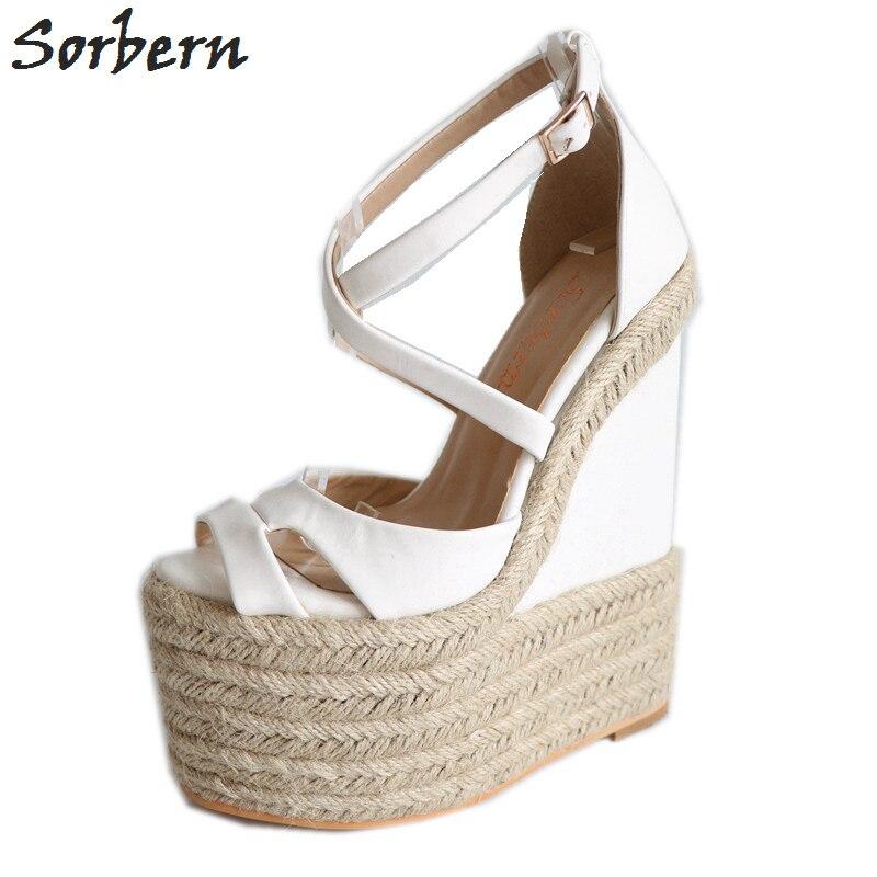 Sorbern حبل إسفين الكعوب 18 سنتيمتر عالية الكعب حجم 13 أحذية للنساء بالاضافة الى حجم 34 46 مخصص مفتوحة تو الصنادل 2018 الوافدين الجدد-في كعب عالي من أحذية على  مجموعة 1