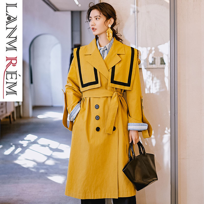 LANMREM 2018 New Large Size Women's Fashion Temperament Navy Collar Windbreaker Loose Overcoat Female's   Trench   Vestido YG49207