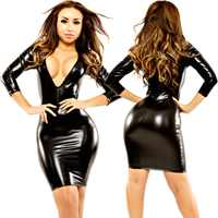Frauen Sexy Wetlook Latex Bodycon Kleider Leder Midi Kleid Clubwear