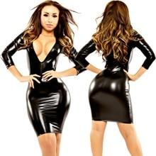 Women's Sexy Wetlook Latex Bodycon Dresses Leather Midi Dress Clubwear