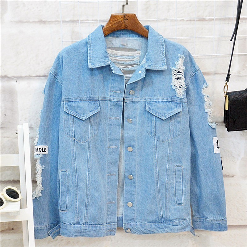Plus Size Where Is My Mind Korea Kpop Frayed Letter Patch Bomber Jeans Jacket Women Ripped Plus Size Where Is My Mind Korea Kpop Frayed Letter Patch Bomber Jeans Jacket Women Ripped Denim Coat Female Streetwear Harajuku