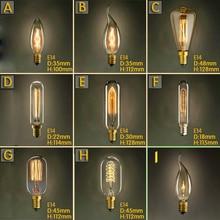 Vintage Retro E14 Edison Spiral Incandescent Light Bulb Filament Bulb For Pendant Lamps Living Room Bedroom