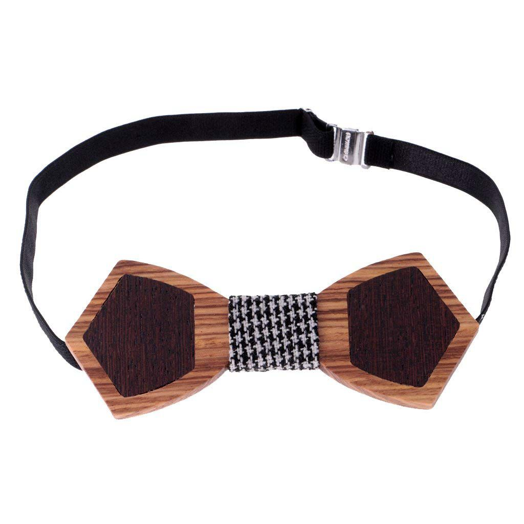 Man Bow Tie Wooden Tie Trend Accessory Suit Tuxedo for Wedding - One size