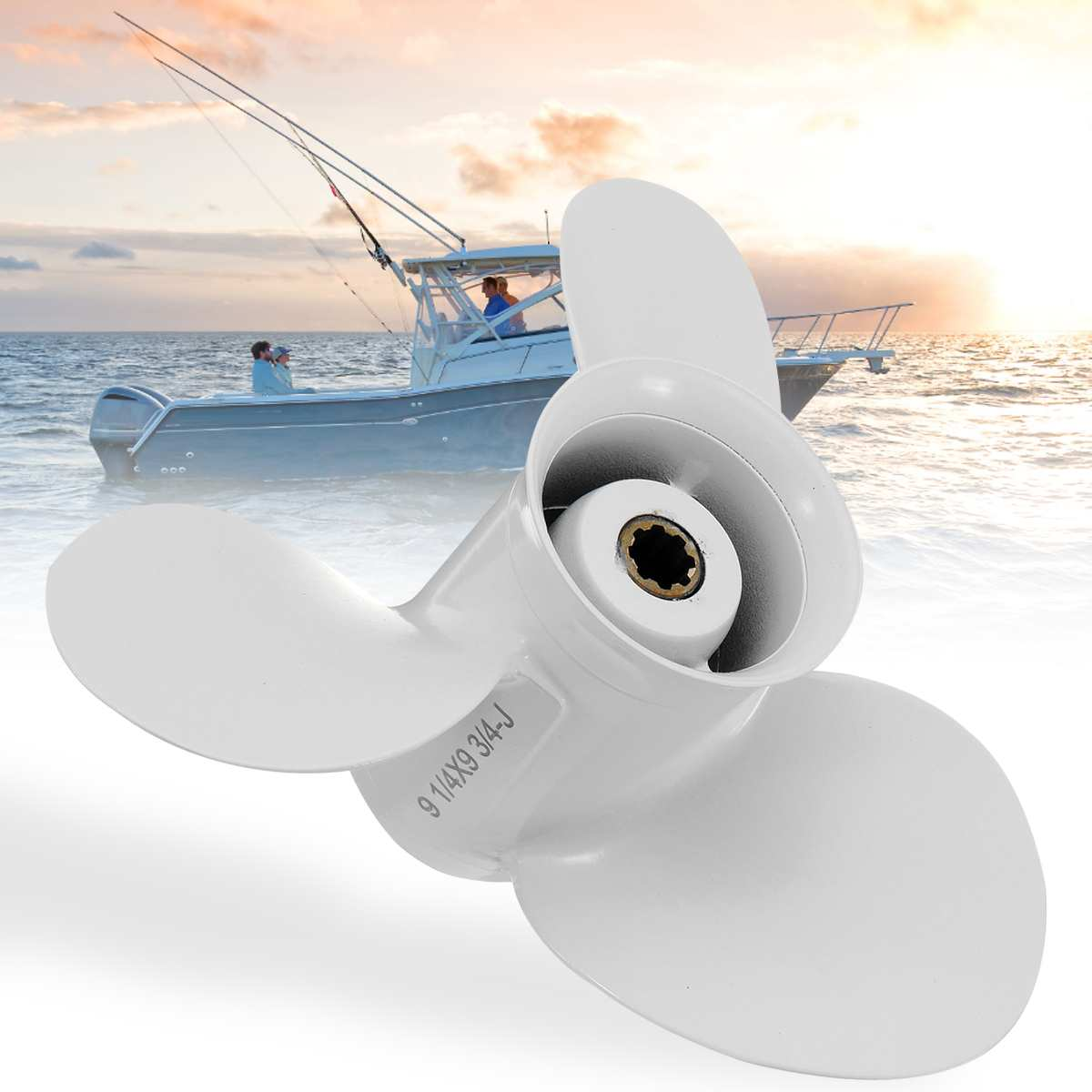 683-45952-00-el 9 1/4 X 9 3/4 Boat Outboard Propeller For Yamaha 9.9-15hp Aluminum Alloy 3 Blades 8 Spline Tooths White To Adopt Advanced Technology Marine Propeller