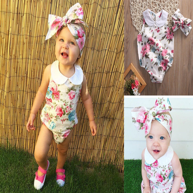 Pudcoco Girl Jumpsuits 0-24M Newborn Kid Baby Girls Floral Crew Neck Sleeveless Romper 2pcs Outfits