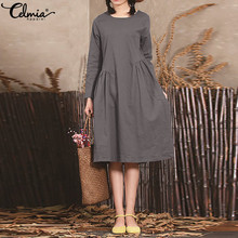 Celmia Women Vintage Linen Dress 2019 Spring Summer Crew Neck Long Sleeve Casual Loose Pleated Long Shirt Vestidos Plus Size 5XL