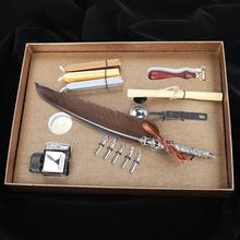 Retro Quill Feder Schreiben Stift Geschenk Box mit Leere Tinte Flasche Quill Set für Lehrer Dunkelbraun Geschenke