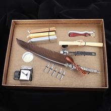 Retro pióro pióro pisanie długopis na prezent pudełko z pustą butelka na atrament pióro zestaw dla nauczyciela ciemnobrązowe prezenty
