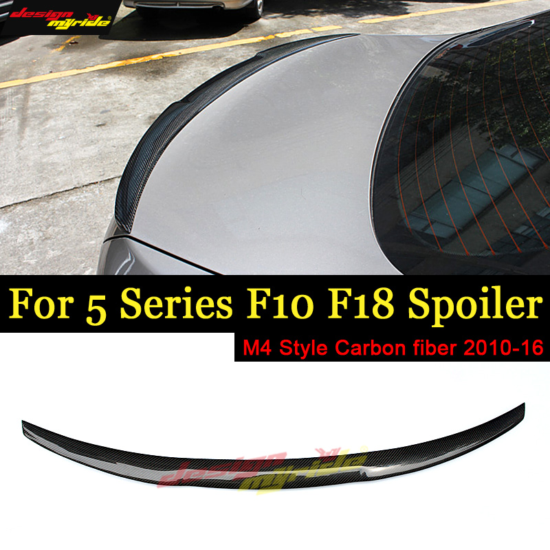F10 Spoiler Rear Wing Tail NEW AEM4 Style Carbon Fiber For F18 520i 525i 528i 530i 535 Trunk 2010-16