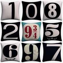 Scandinavian Black and White Numbers Decorative Pillow Covers For Sofa Home Decor Linen Cushion Case 45x45cm Throw Pillow Cases simple black and white moon night design sofa pillow case