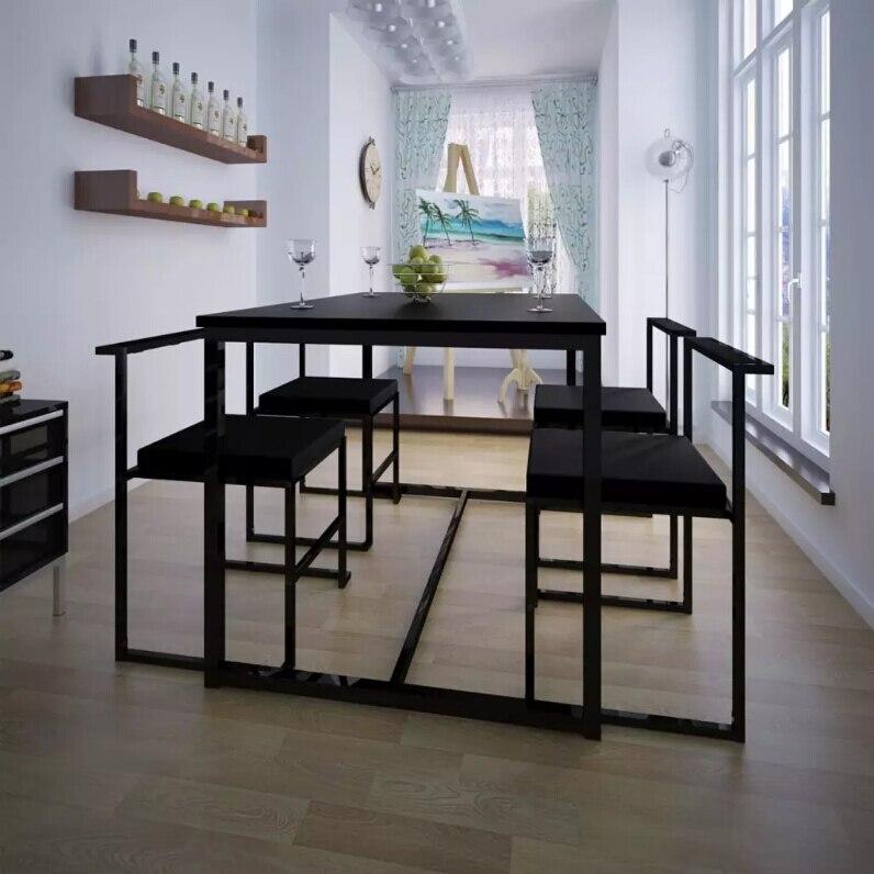 VidaXL 5 pièces ensembles de salle à manger mobilier de maison moderne Table à manger et chaises noir meubles d'outre-mer entrepôt expédition
