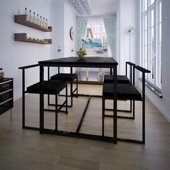 VidaXL 5 piezas juegos de comedor muebles modernos para el hogar mesa de  comedor y sillas muebles negros Envío de almacén por mar