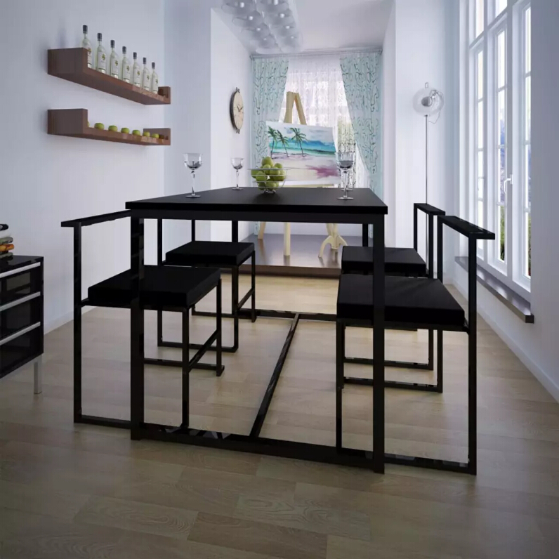 VidaXL 5Pcs Dining Room Sets Modern Home Furniture Dining Table And Chairs Black Furniture Oversea Warehouse Shipping