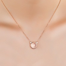 Korean Natural Rose Gold Crystal Clavicle Chain Necklace 925 Sterling Silver for Birthday Opal Colar Bijoux En Argent