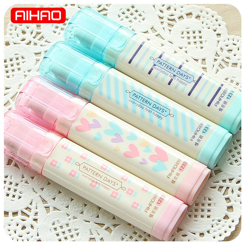 Cute Kawaii Heart Flower Rubber Erasers Lovely Stripe Pencil Eraser For Kids Gift Korean Stationery