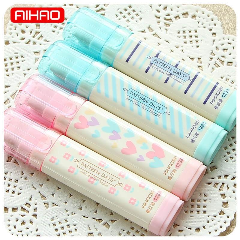 Cute Kawaii Heart Flower Rubber Erasers Lovely Stripe Pencil Eraser For Kids Gift Korean Stationery