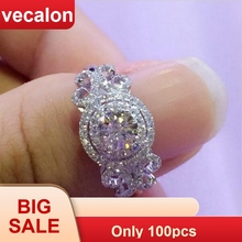 Vecalon New Women Jewelry ring Round cut 2ct AAAAA Zircon Cz 925 Sterling Silver Engagement wedding Band ring for women