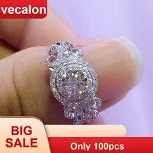 Vecalon nouveau femmes bijoux anneau rond coupe 2ct AAAAA Zircon Cz 925 bague de fiançailles en argent Sterling pour les femmes