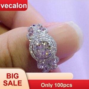 Image 1 - Vecalon yeni kadın takı yüzük yuvarlak kesim 2ct AAAAA zirkon Cz 925 ayar gümüş nişan düğün Band yüzük kadınlar için