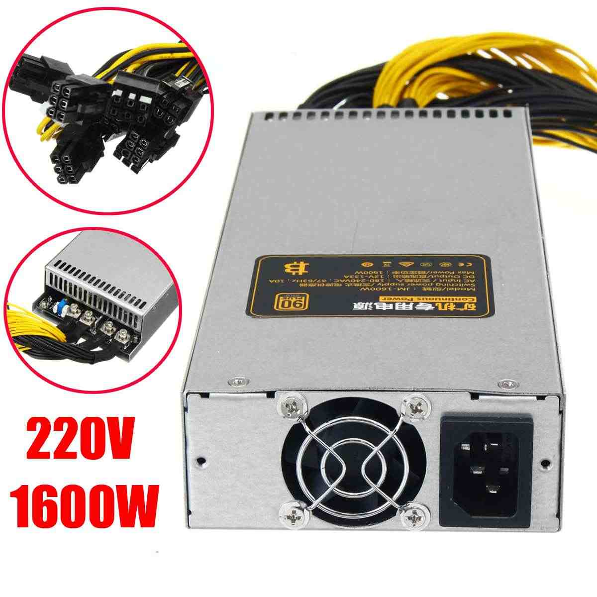 220V 1600W Power Supply 6Pin PCI-E 95% for Mining Machine For Antminer S9  S7 L3+ D3