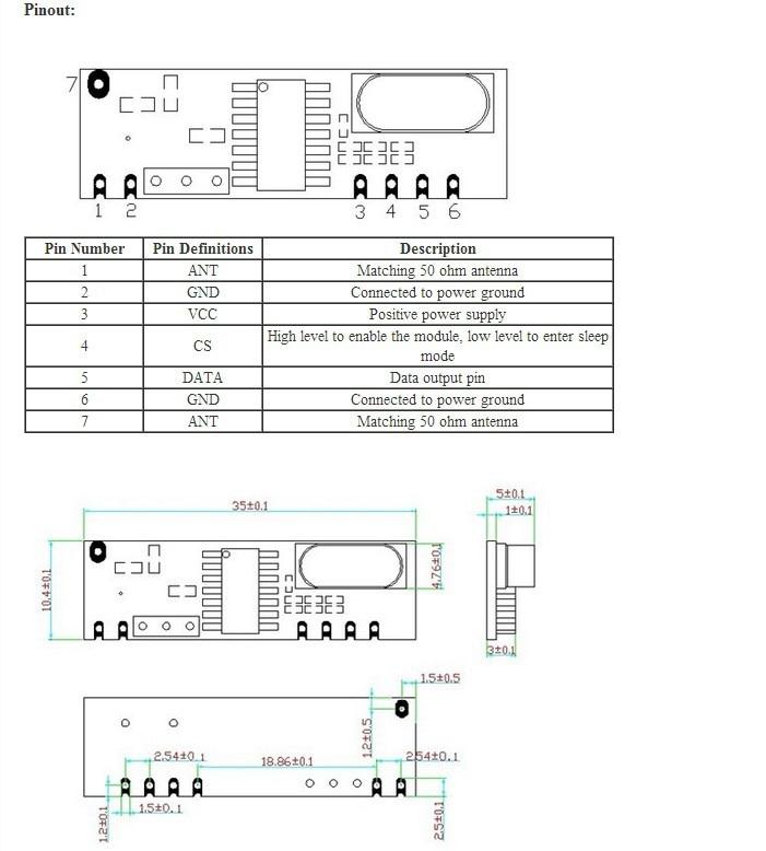 433MHz ASK RF Module kit (RF transmitter STX882+ RF receiver SRX882
