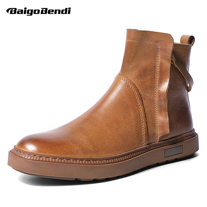Retro Boots Men Real Leather Chelsea Fashion Designer Casual Winer Shoes