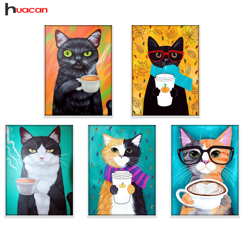 Huacan Diamond Broderi Cat Billede af Rhinestones 5D DIY Diamantmaleri Tegneserie Diamond Mosaic Animals Cross Stitch
